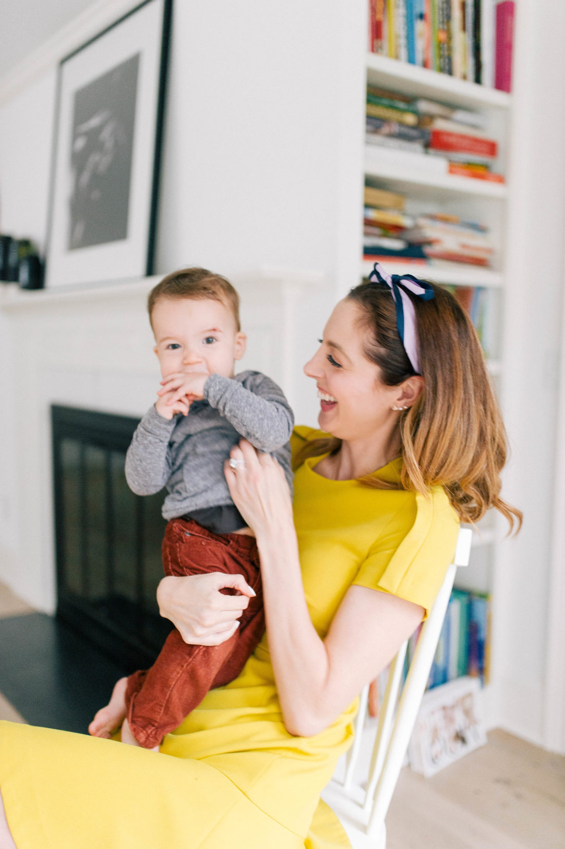 Eva Amurri Martino holds one year old son Major Martino in the kitchen of her Connecticut home