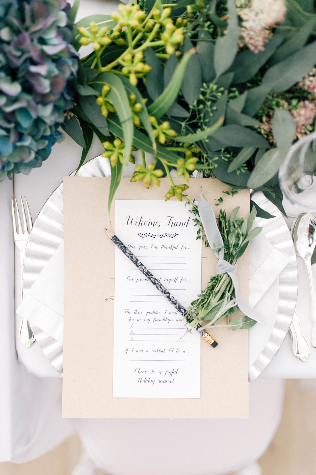 A place setting featuring a guest questionnaire at the Friendsgiving for No Kid Hungry at Eva Amurri Martino's Connecticut home