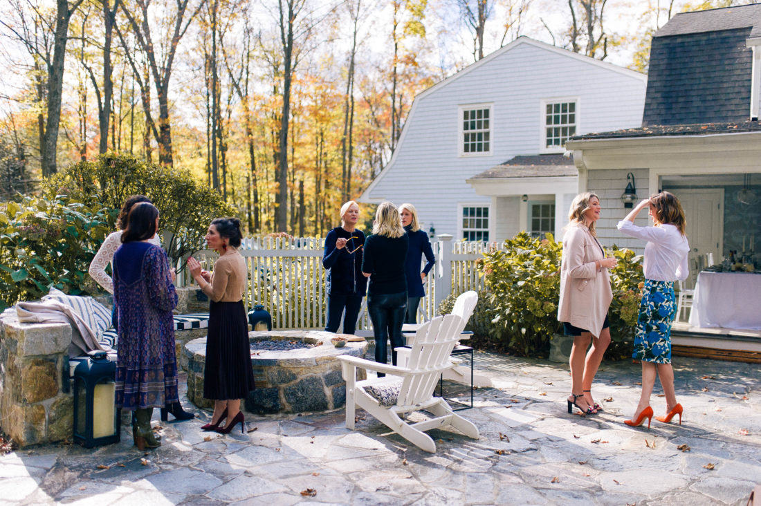 Guests arrive at the Friendsgiving at Eva Amurri Martino's Connecticut home