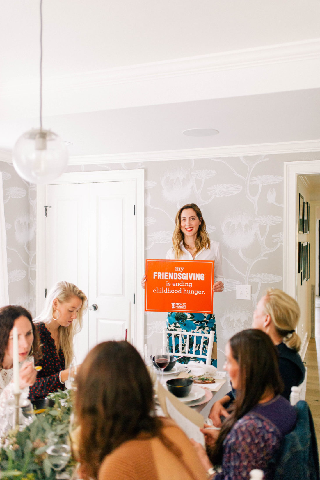 Eva Amurri Martino speaks about No Kid Hungry at her Friendsgiving in Connecticut