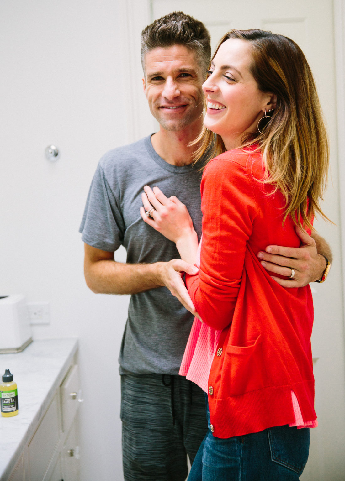 Eva Amurri Martino cuddles up to husband Kyle Martino in the bathroom of their Connectiut home