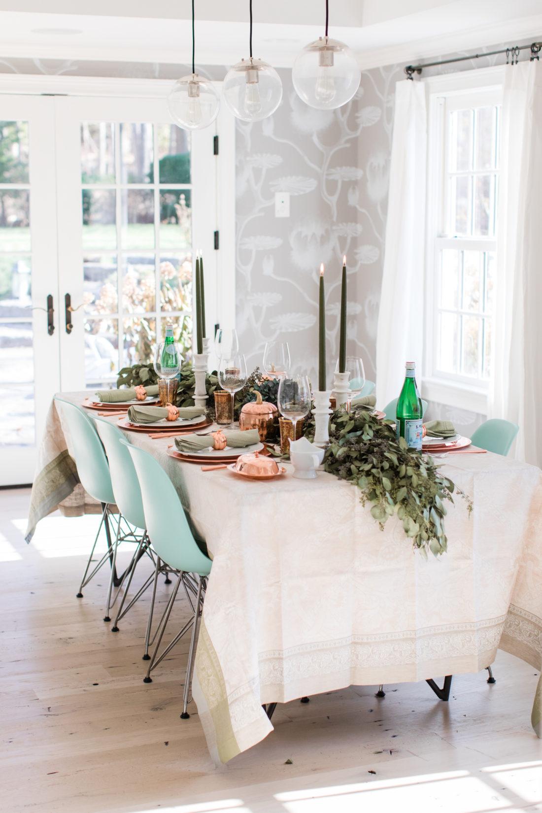 Eva Amurri Martino's green and copper Thanksgiving Table