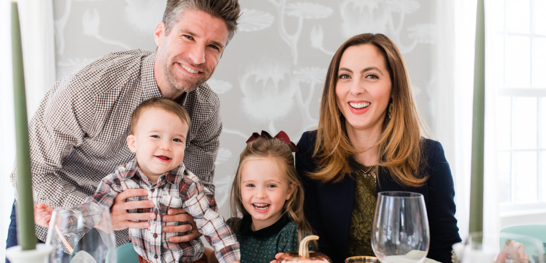 Eva Amurri Martino, Kyle Martino, and their children Major and Marlowe, gather around their copper and green Thanksgiving table to celebrate the holiday