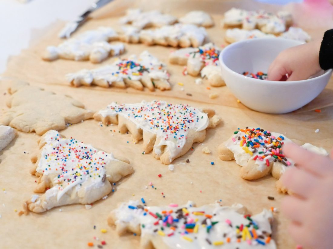 Marlowe Martino decorates cookies for Santa