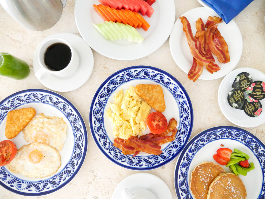 Room service is served on blue and white patterned plates at the Hyatt Ziva resort in Los Cabos, Mexico