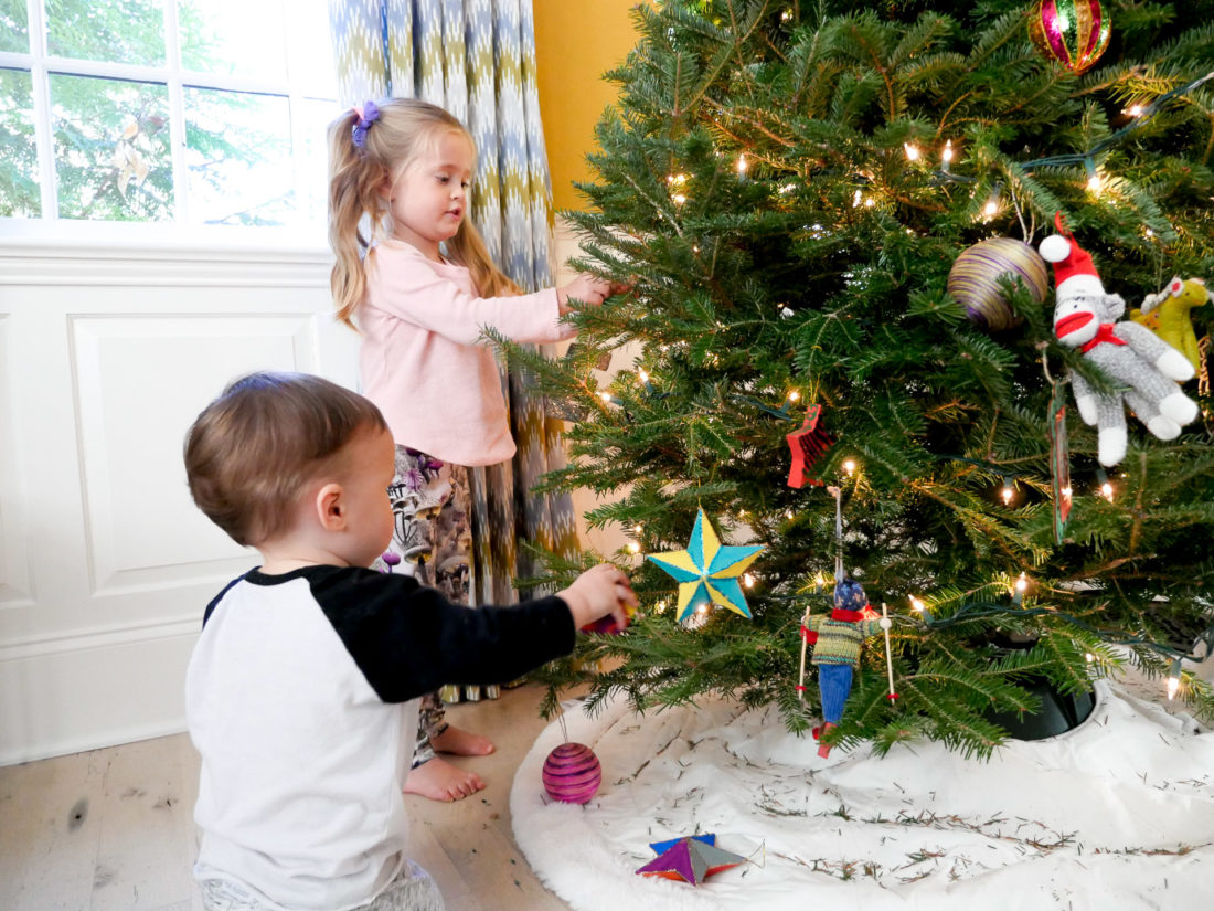 Marlowe and Major Martino decorate their family christmas tree in Connecticut the day after Thanksgiving