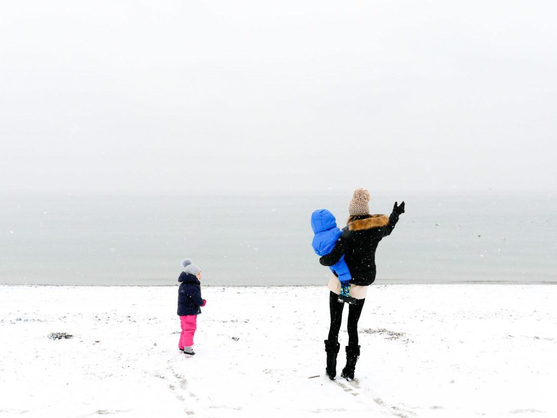 Eva Amurri Martino bundles up with her children Marlowe And Major on the snowy beach in Westport, Connecticut