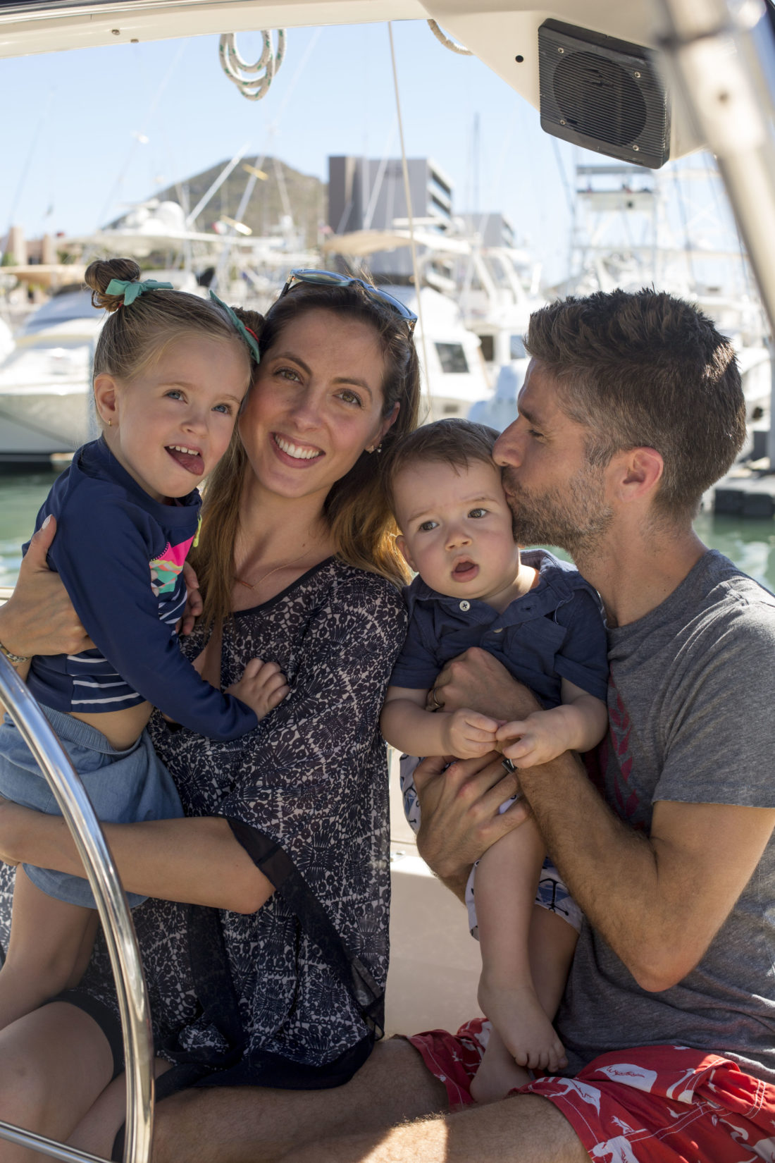 Eva Amurri Martino, Kyle Martino, Marlowe Martino, and Major Martino go on a sailboat excursion while on vacation in Los Cabos, Mexico