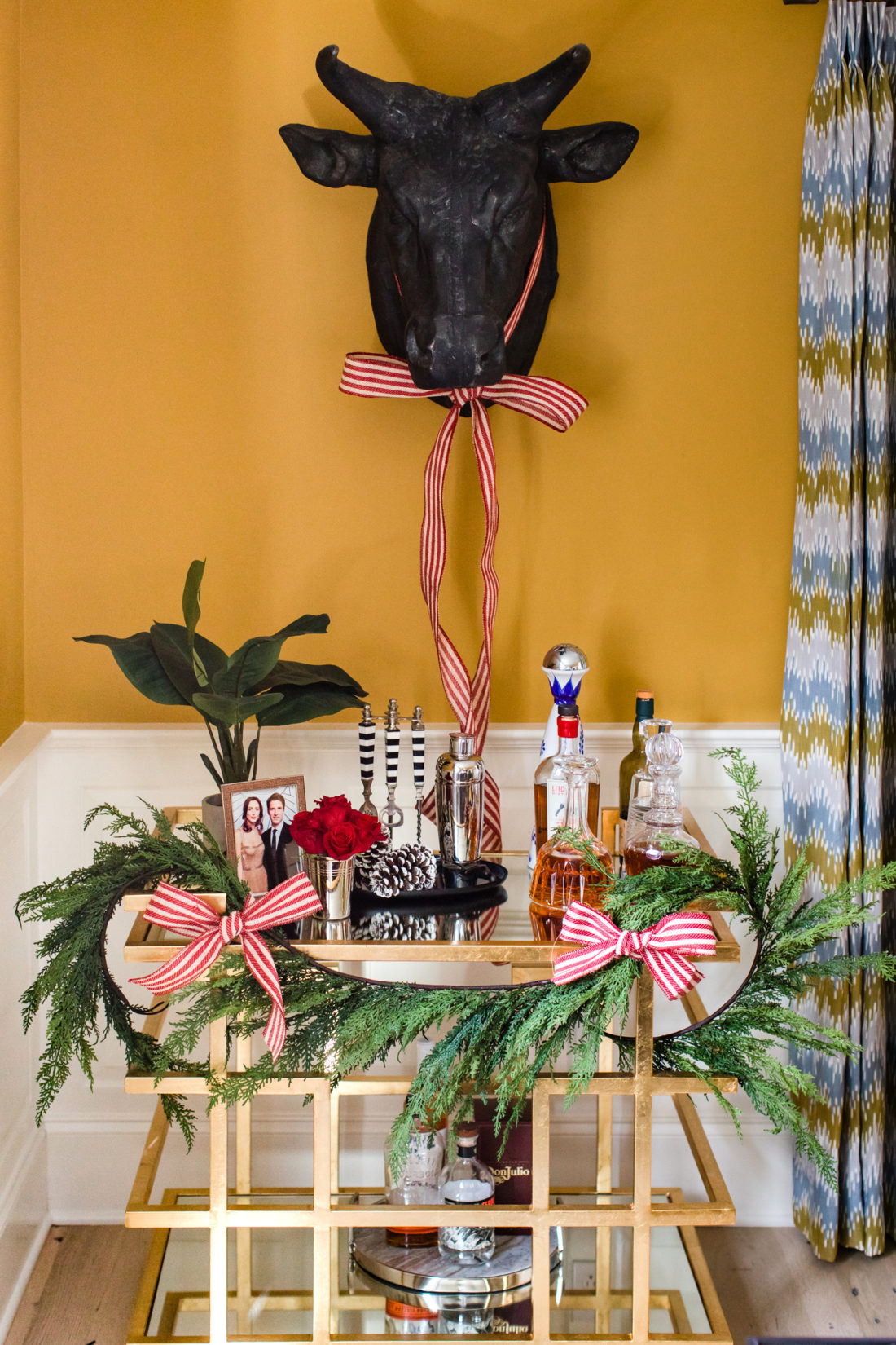 Eva Amurri Martino's bar cart in her Connecticut home is decked out for a classic christmas holiday party