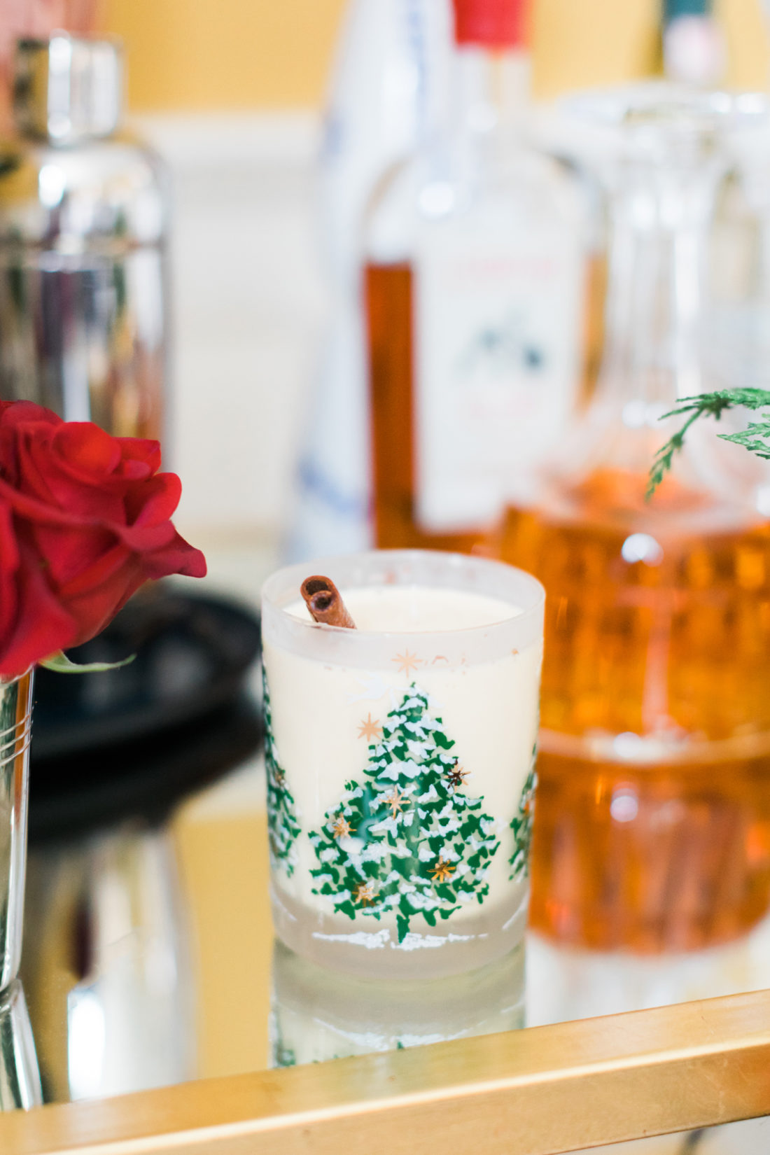 Eva Amurri Martino shares a glass of eggnog as part of her classic christmas cocktail party