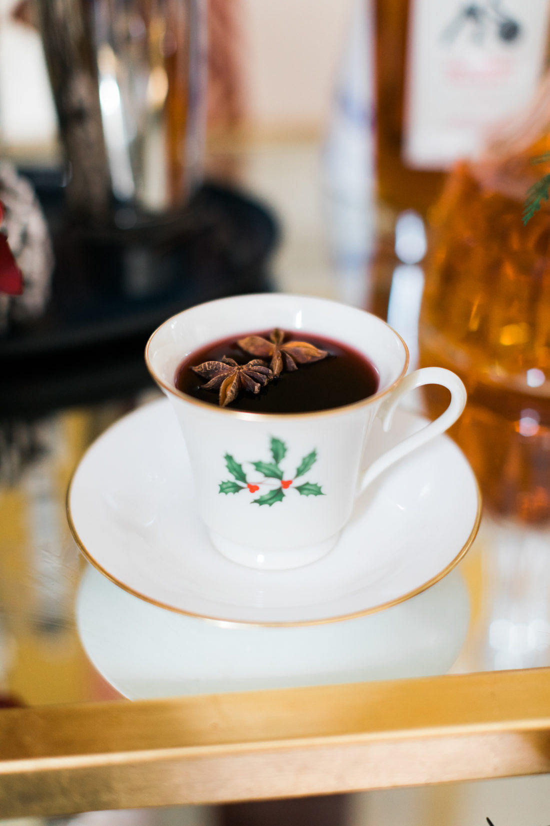 Eva Amurri Martino serves mulled wine in her grandmother's china cups as part of her classic christmas cocktail party