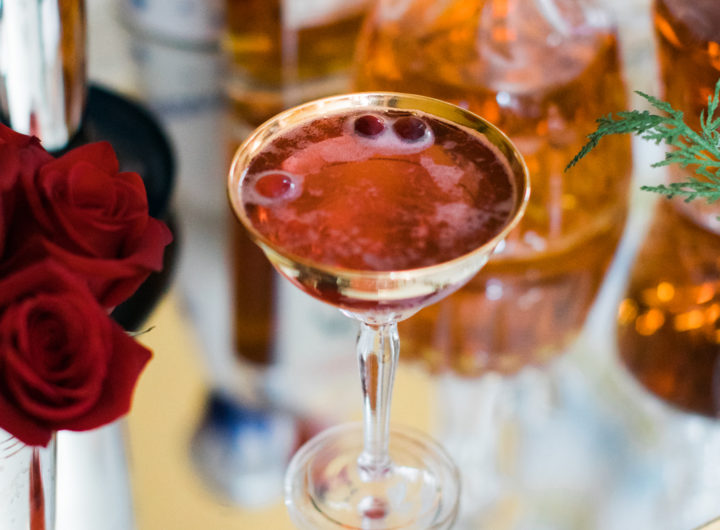 Eva Amurri Martino shares a recipe for a Poinsettia cocktail as part of her classic holiday cocktail party