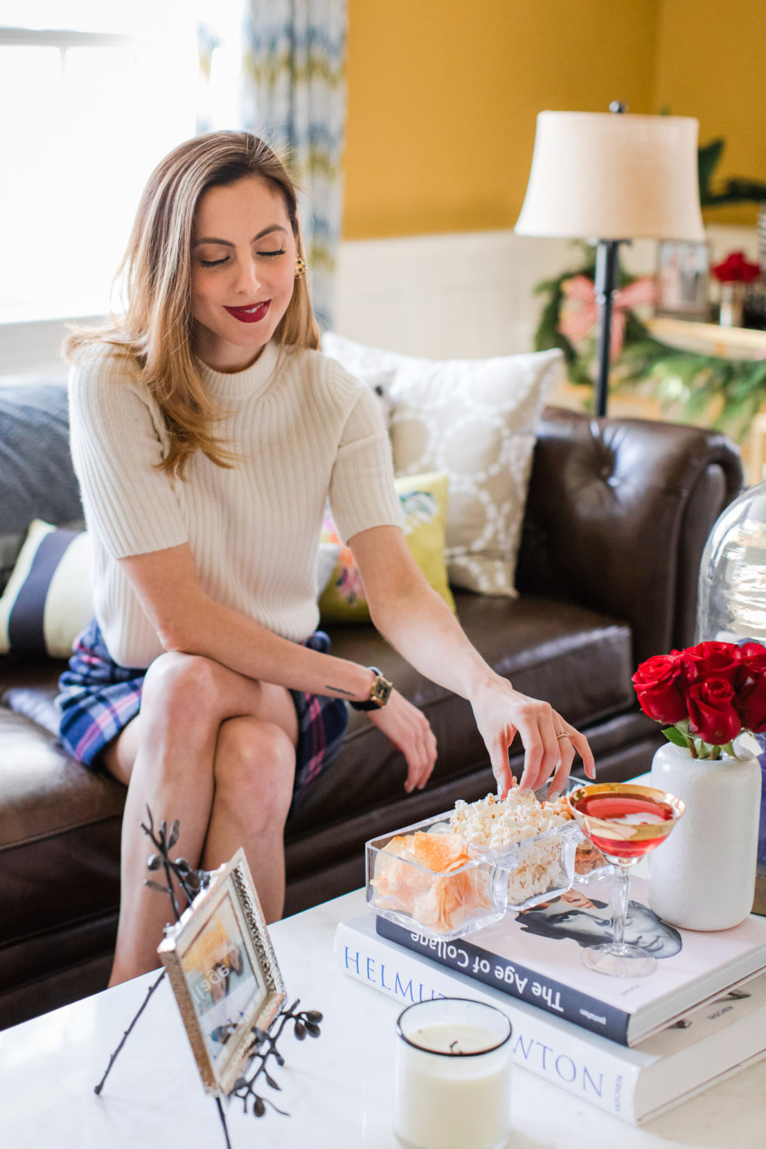 Eva Amurri Martino eats snacks and drinks classic christmas cocktails at her home in Connecticut
