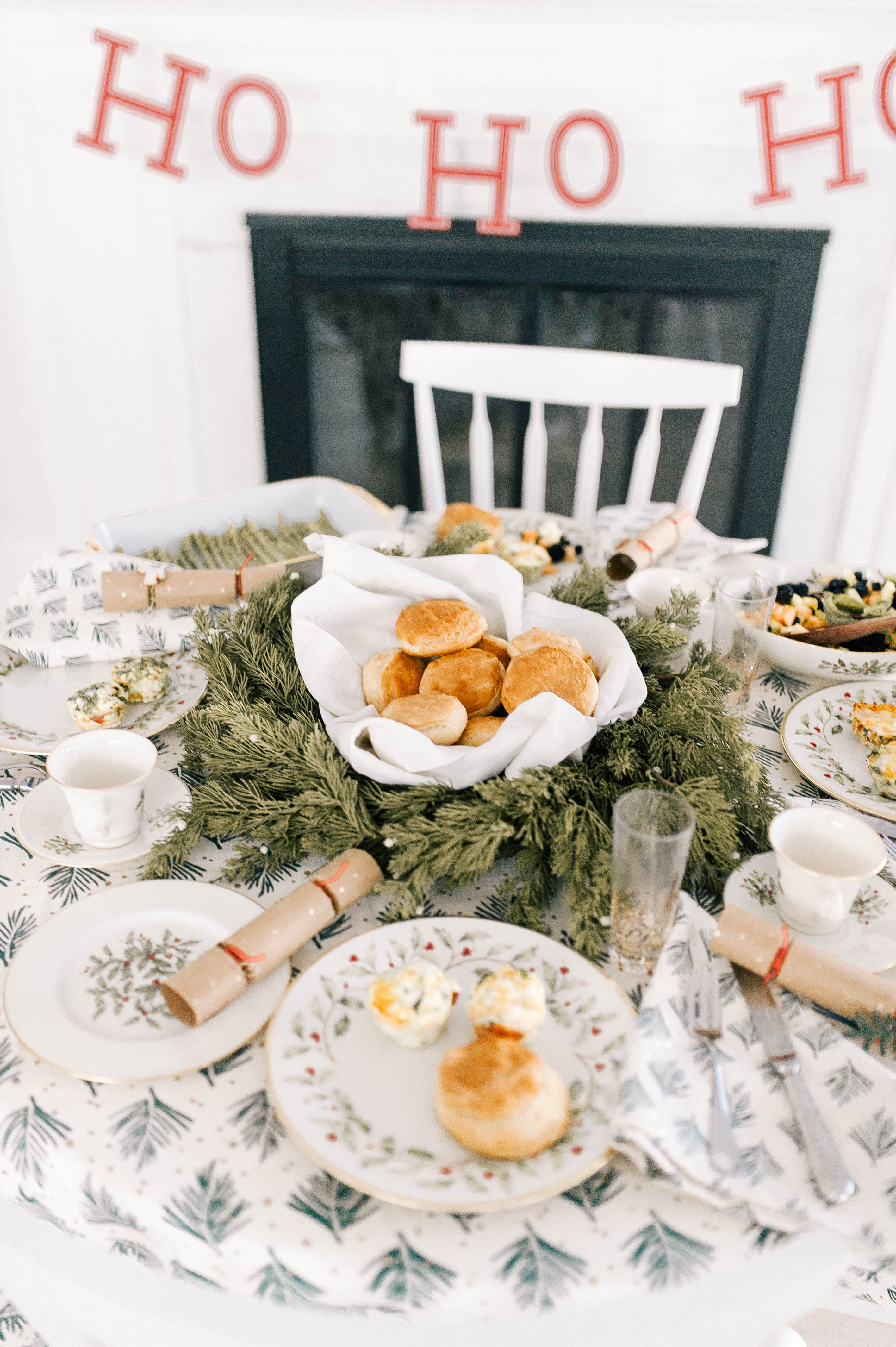 A festive Christmas day brunch using vintage china in the kitchen of Eva Amurri's Connecticut home