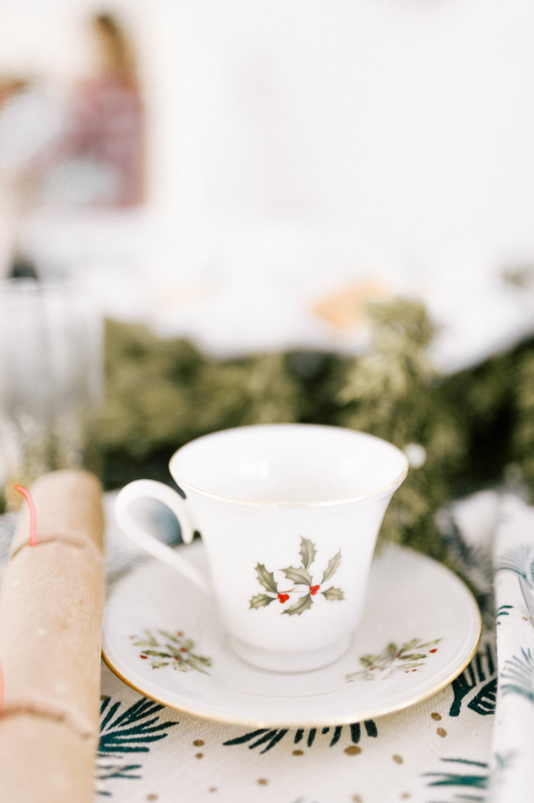 A vintage cup and saucer at Eva Amurri Martino's brunch table