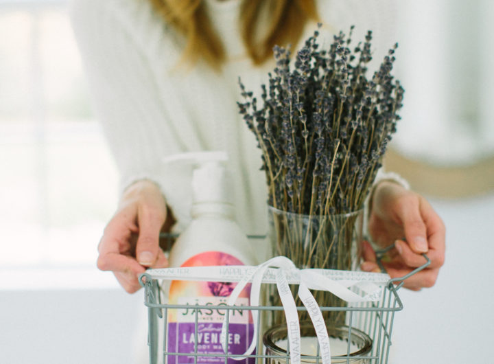 A wire basket filled with Lavender goodies curated by Eva Amurri Martino