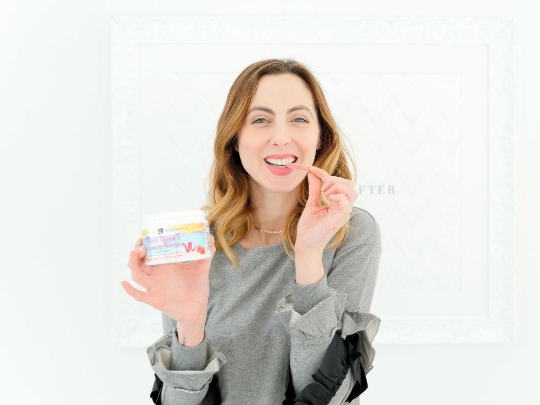 Eva Amurri Martino chews on an Omega-3 gummy worm