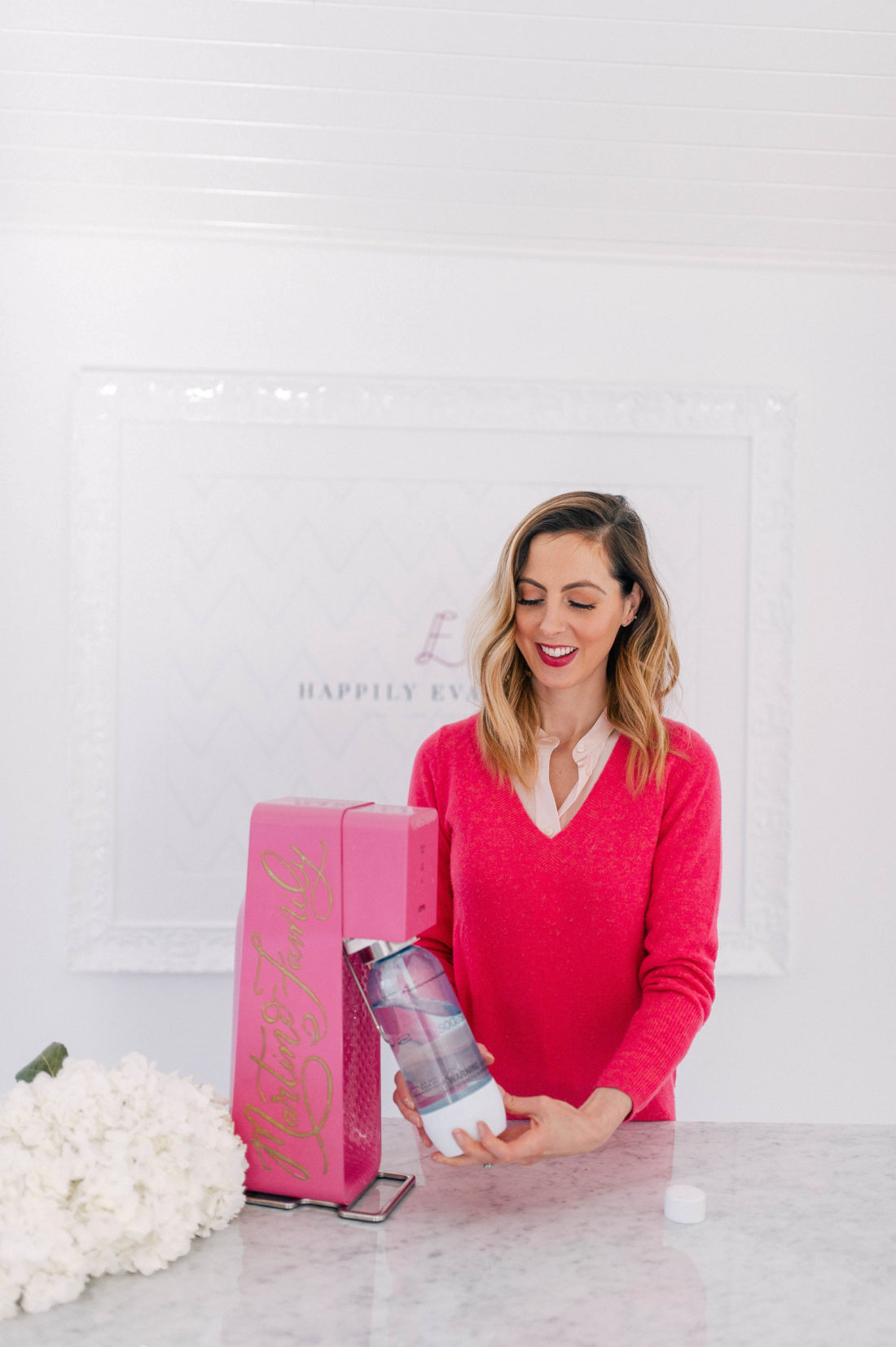 Eva Amurri Martino uses her Soda Stream sparkling water maker in the studio of her Connecticut home