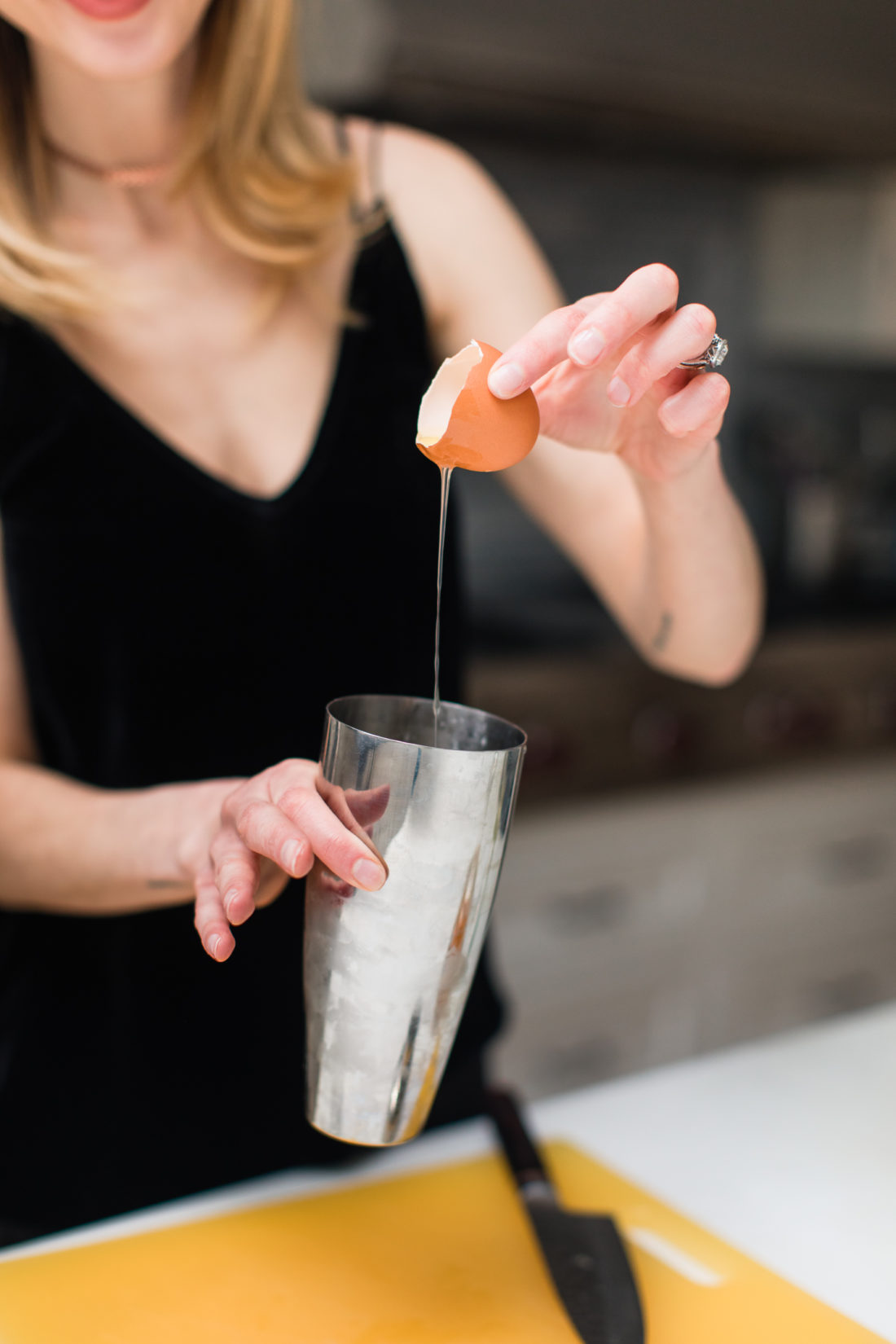 Eva Amurri Martino adds a splash of egg white to a whiskey sour