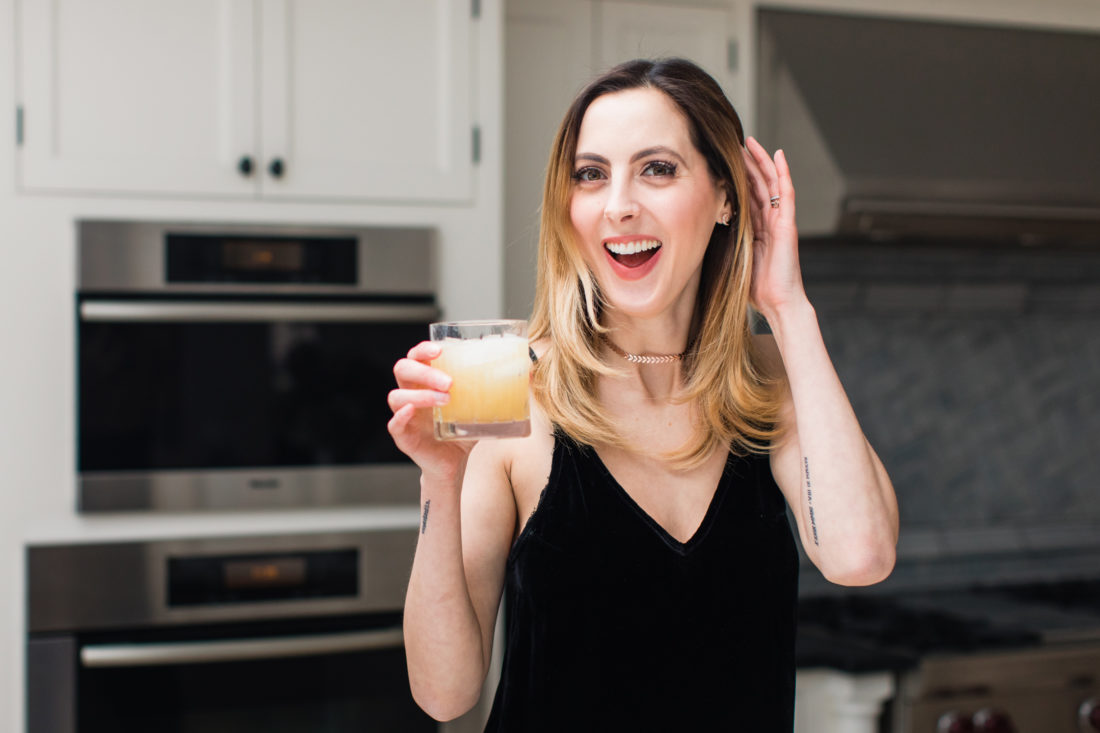 Eva Amurri Martino pours a whiskey sour in the kitchen of her Connecticut home