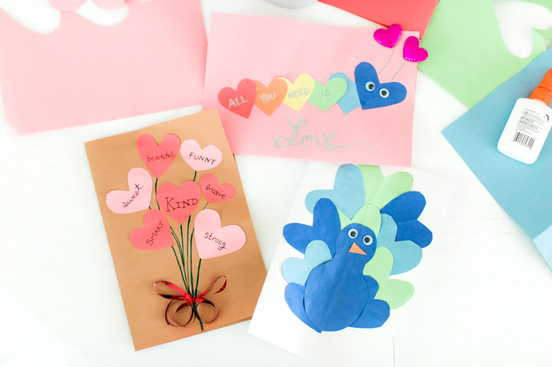 Eva Amurri Martino displays three ways to utilize cutout paper hearts to make cute Valentine's Day cards