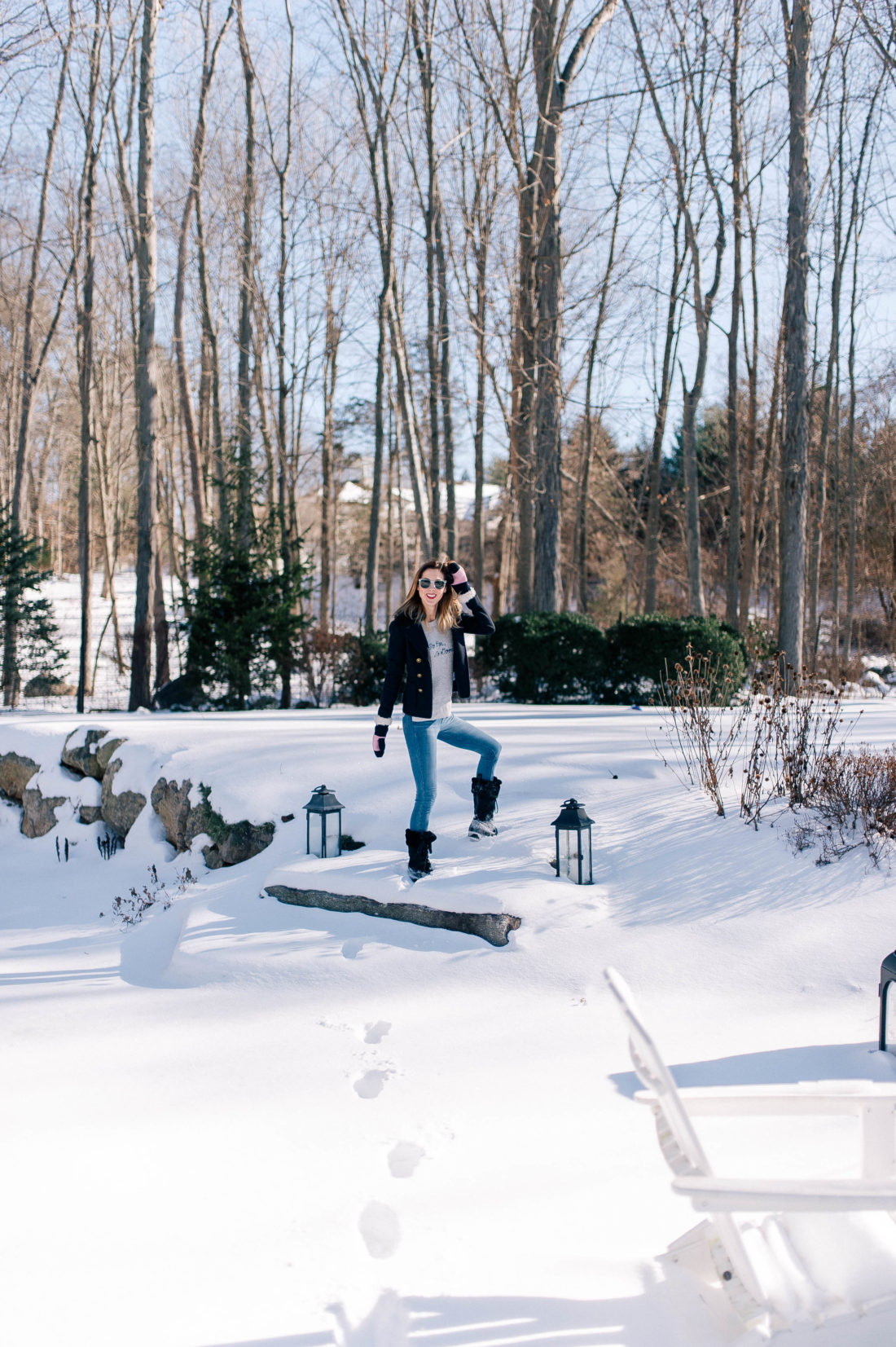 Eva Amurri Martino bundles up and enjoys the snow in the yard outside her Connecticut home