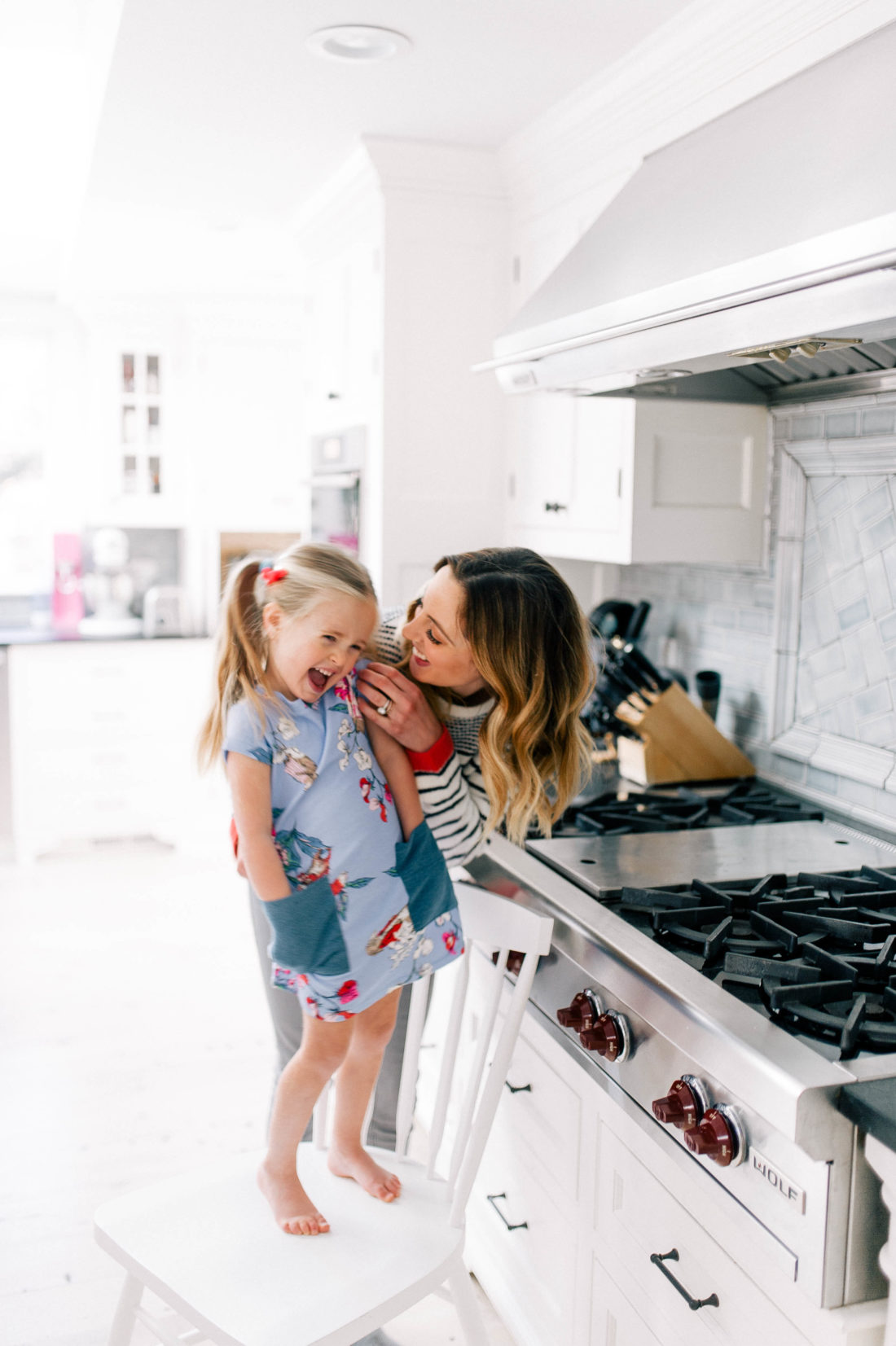 Eva Amurri Martino plays around and cooks in the kitchen with three year old daughter Marlowe