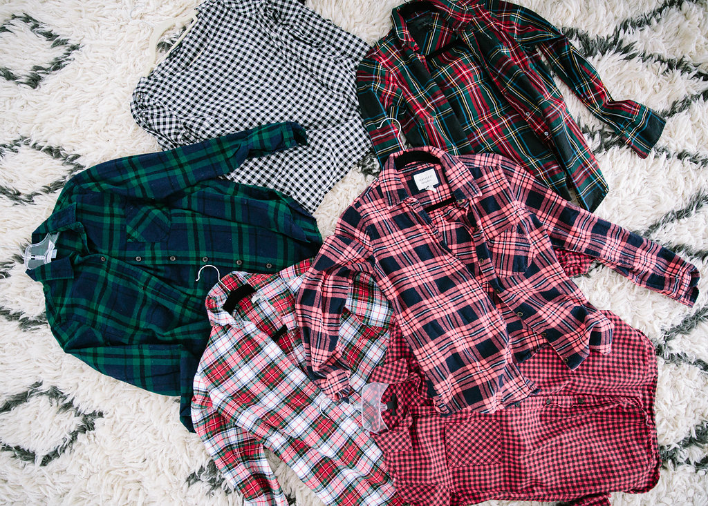 A pile of plaid shirts on the floor of Eva Amurri Martino's master bedroom