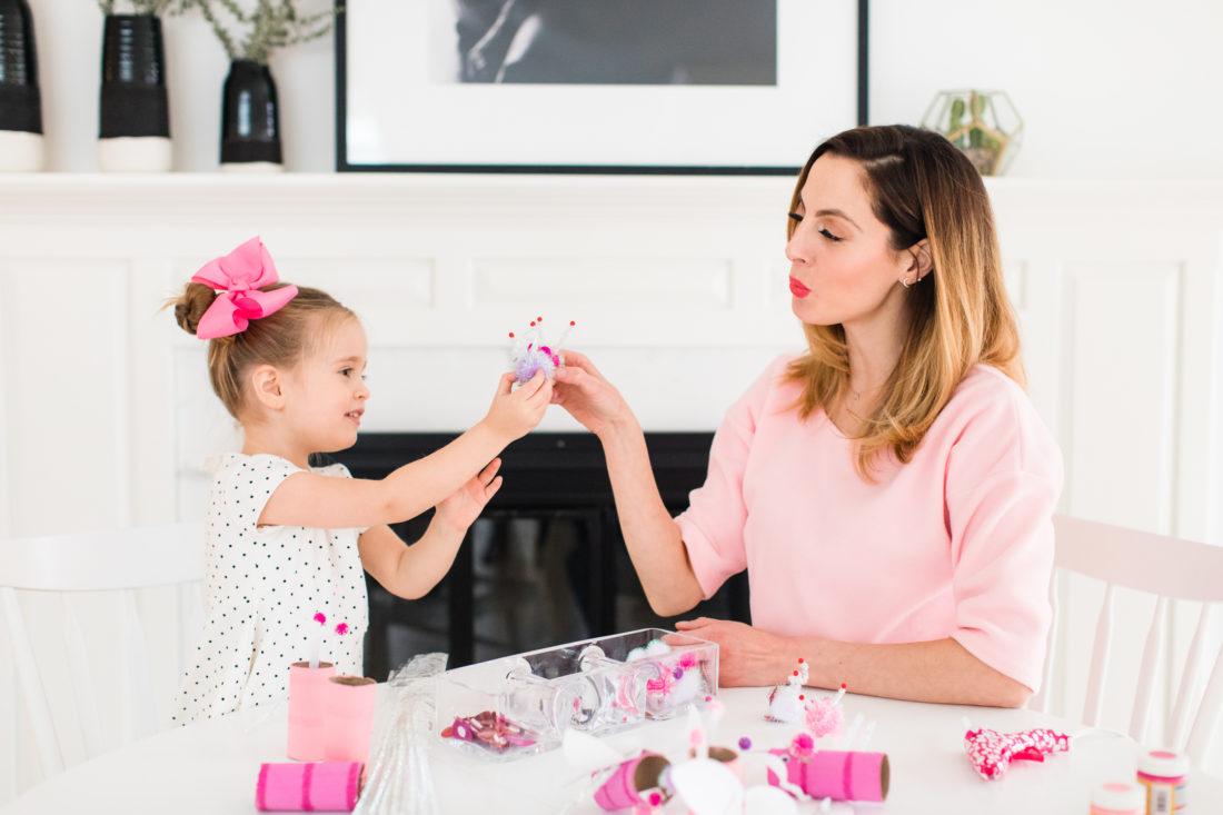 Eva Amurri Martino and daughter Marlowe make their DIY pompom Lovebugs kiss