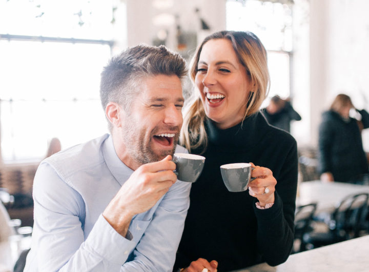 Eva Amurri Martino laughs with her husband Kyle over an espresso