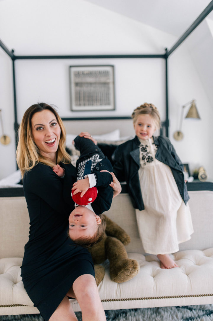 Eva Amurri Martino laughs with her daughter Marlowe and son Major at the foot of her bed in her house in Connecticut.