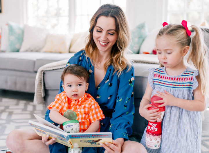 Eva Amurri Martino plays on the floor with her children Marlowe Mae and Major James in their Connecticut home.
