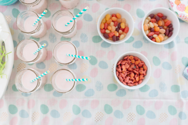 Tablescape of Easter treats at Eva Amurri Martino's annual Easter Egg Hunt at their home in Connecticut