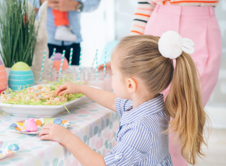 Eva Amurri Martino's daughter Marlowe reaches for treats at their annual Easter Egg Hunt in Connecticut