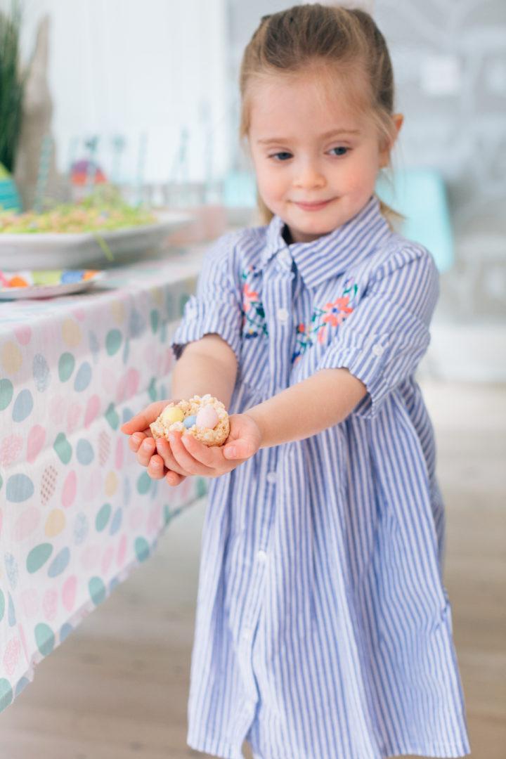 Eva Amurri Martino's daughter Marlowe holds a Sweet Easter Nest treat