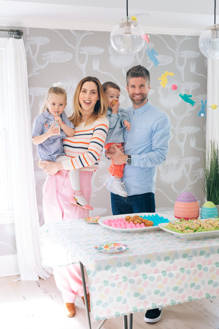 Eva Amurri Martino and husband Kyle Martino pose for an Easter family portrait with their two children Marlow and Major at their Connecticut home.