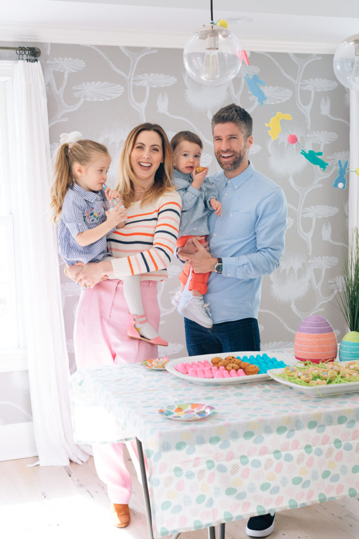 Eva Amurri Martino and husband Kyle Martino pose for an Easter family portrait with their two children Marlow and Major at their annual Easter Egg Hunt at their Connecticut home.