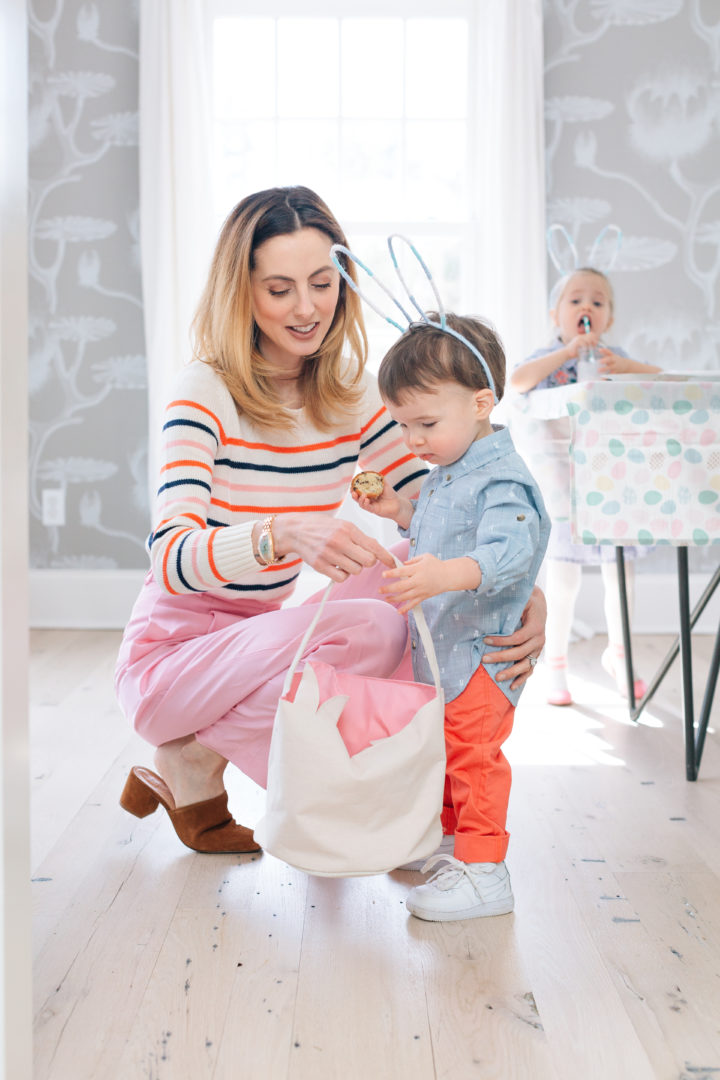 Eva Amurri Martino gives her son Major a bag to collect eggs at their annual Easter Egg Hunt