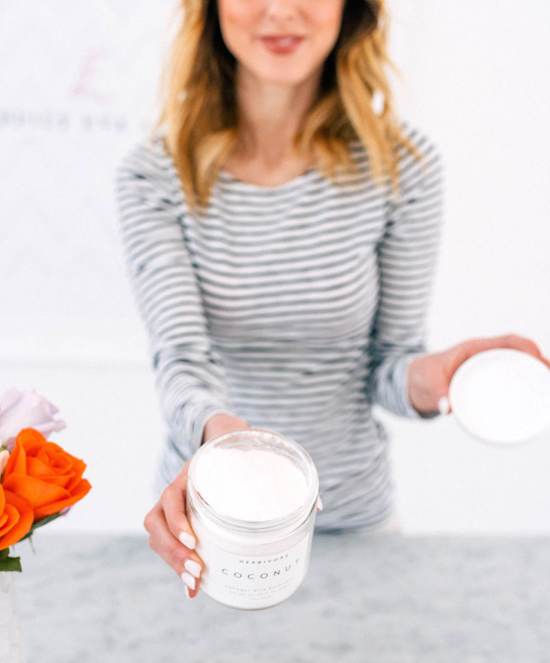 Eva Amurri Martino shows off her coconut milk bath soak that she's been loving for April