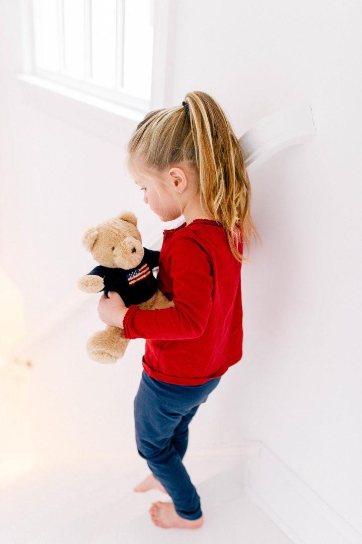 Marlowe Martino with a teddy bear