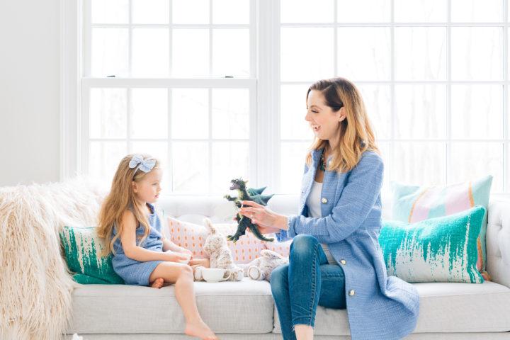 Eva Amurri Martino and daughter Marlowe wearing matching blue outfits