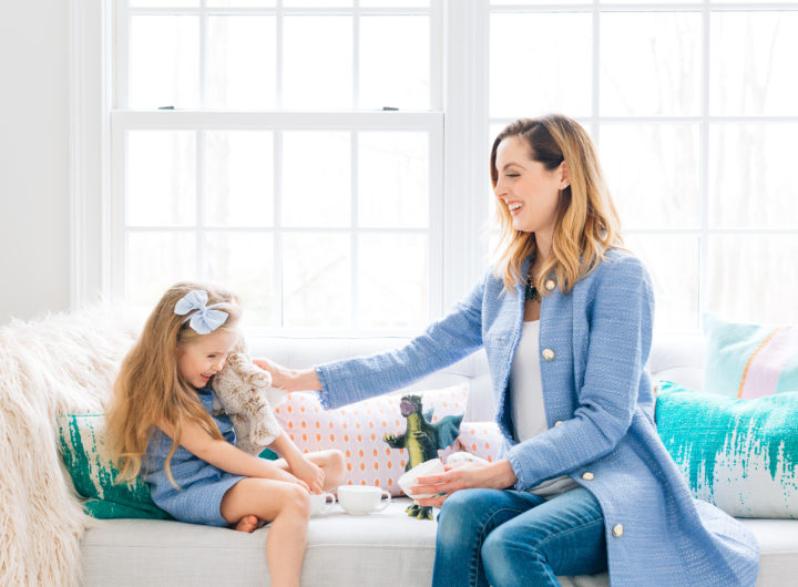 Eva Amurri Martino and daughter Marlowe wearing matching blue outfits