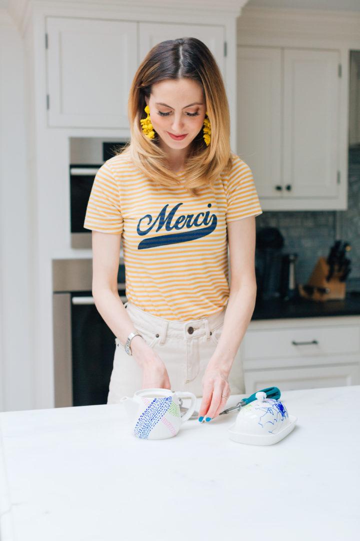 Eva Amurri Martino shows how to decorate a custom tea set for Mother's Day