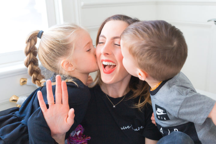 Eva Amurri Martino gets a kiss from her daughter Marlowe and son Major