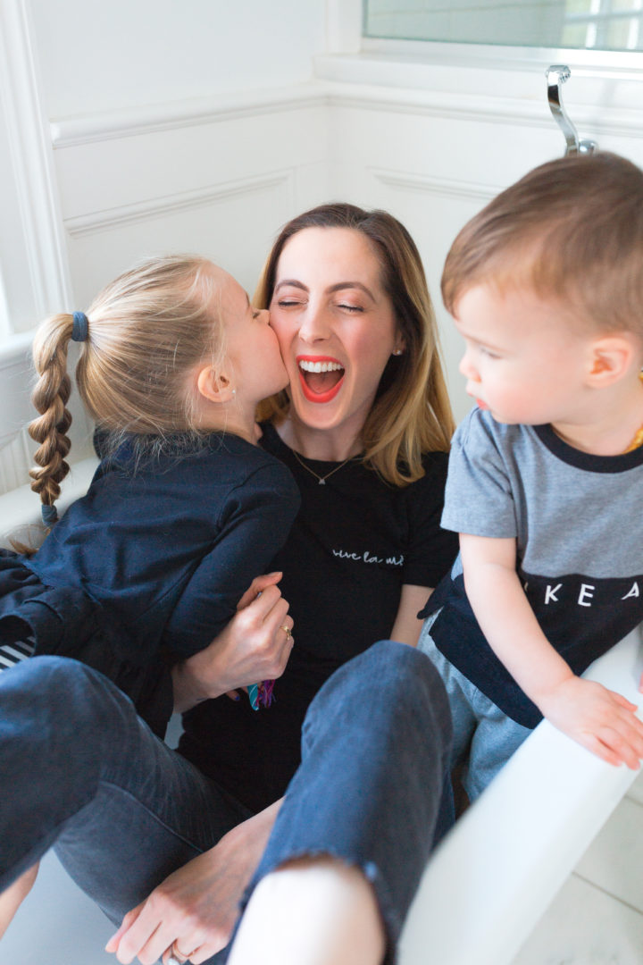 Eva Amurri Martino laughs with her daughter Marlowe and son Major in a bathtub in their house in CT
