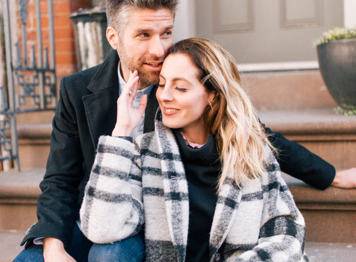 Eva Amurri Martino sits on a stoop with her husband Kyle
