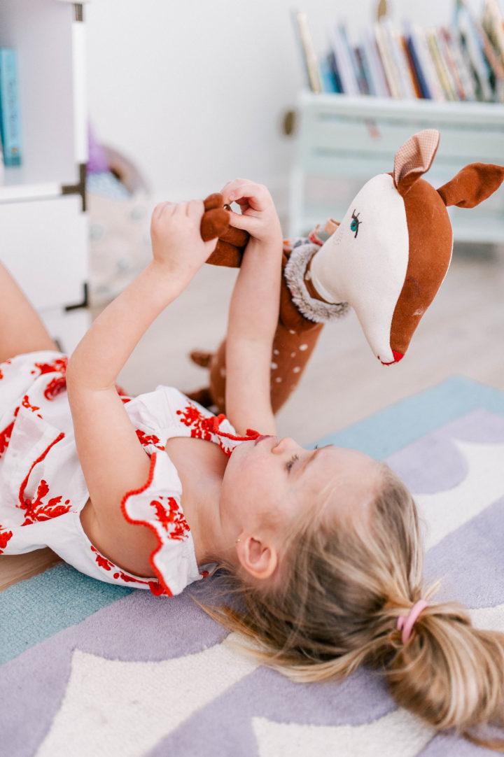 Eva Amurri Martino's daughter Marlowe lies on the floor of her bedroom in Connecticut
