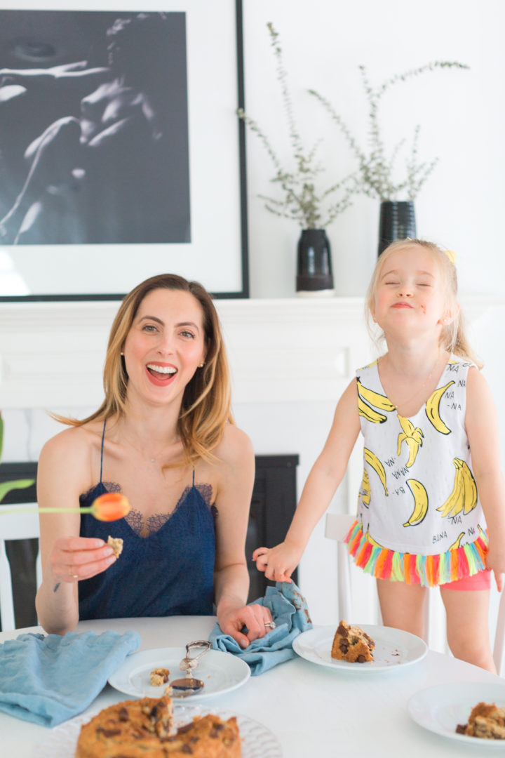 Eva Amurri Martino laughs with daughter Marlowe while eating dairy free banana bread