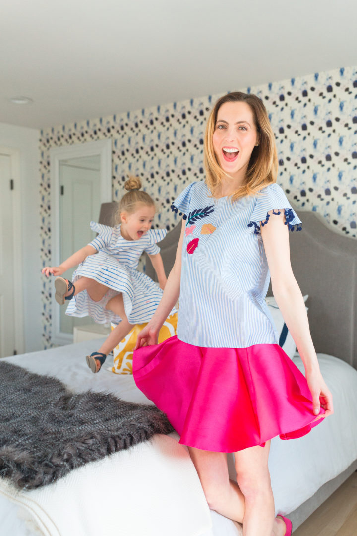Eva Amurri Martino laughs with her daughter Marlowe in colorful matching outfits