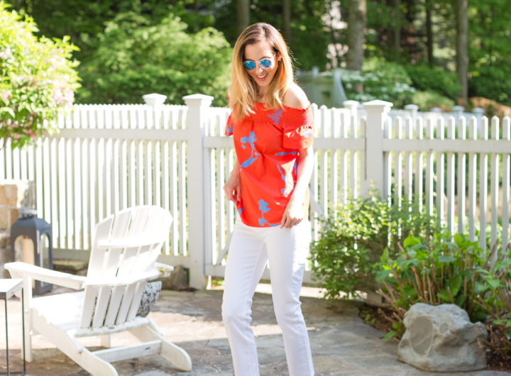 Eva Amurri Martino shows off her favorite white denim for summer in her backyard